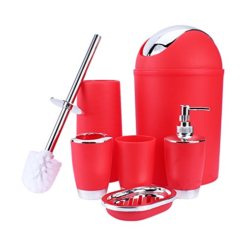 Price comparison product image ZJchao 6 Pcs Polypropylene Bathroom Accessory Set Luxury Bath Accessories Bath Set Lotion Bottles Toothbrush Holder Tooth Mug Soap Dish Toilet Brush Trash Can (Red)