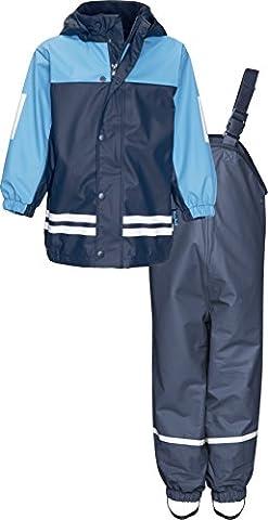 Playshoes Jungen Regenjacke Kinder Wasserdichter Matschanzug, Regenanzug mit Fleece-Futter, Reflektoren, Abnehmbare Kapuze Blau (Marine 11), 128