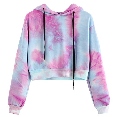 VENMO Damen Stickerei Hoodie Rundhals Langarm Sweatshirts Bluse Oberteile Kurz Gedruckte lange Hülse Kurzes Sweatshirt Hoodies Bluse Bunte Tie Dye Crop Tops Drucken Pullover Rosa Brief (S, Purple) (Top Sleeve Print-kimono)
