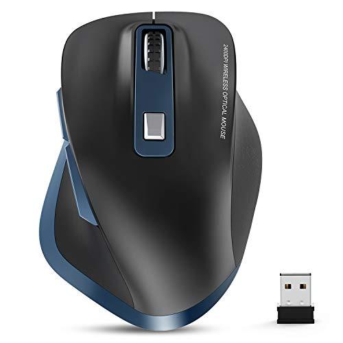Maus Kabellos, Laptop Maus, 2.4G Funkmaus, Wireless Mouse 2400 DPI Mäuse mit USB Nano Empfänger, 6 Tasten, für PC/Tablet/Laptop und Windows/Mac/Linux, Office Home (Blau&Schwarz)