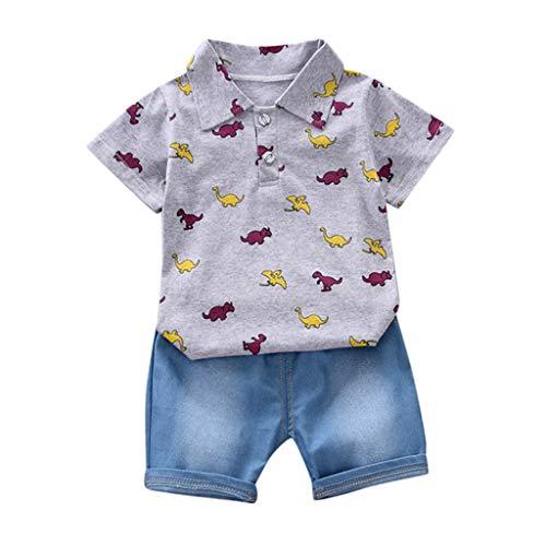 ng, Kleinkind Baby Kostüm Cartoon Dinosaurier T-Shirt Oben+Jeans Kurze Hose Bekleidung Set Kinder Zweiteilig(Grau,18-24M/Groß) ()