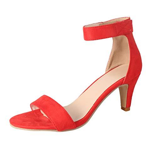 Sandalen Damen High Heels Leopard Absatzschuhe Dünne Sommer Peep Toe Hohe Schuhe Knöchelriemen Stiletto Pumps Römische Schuhe (Rot,36 EU) -