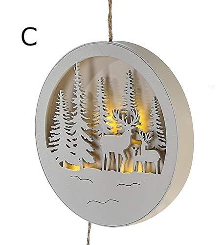 Weihnachtsdeko / Fenster-Bild LED Winter-Landschaft aus Holz- LED beleuchtet - Weihnachts-Schmuck - Weihnachts-Dekoration - Winterlandschaft mit Hirsch - Winter - Advent - Anhänger - Fenster-Bild (Wald mit Hirsch-Familie)