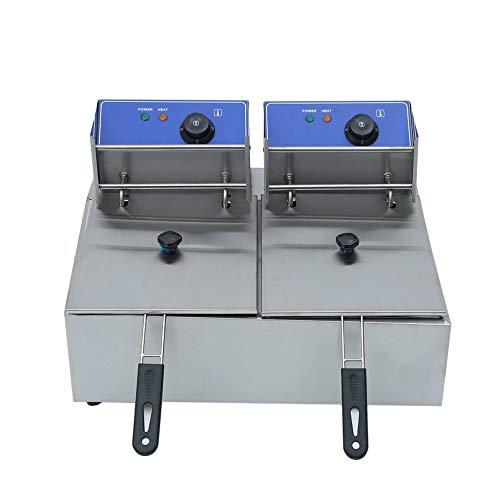JICHUI Gewerbe Elektro-Fritteuse Doppel-Behälter Frittierkorb 220V Chip Herd 2x10L Edelstahl Friteuse UK-Stecker(Silber- & UK-Stecker)