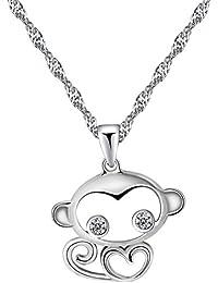332c8e305b77 Collar Mujer con colgante de mono de cubico circonita en plata esterlina 925   RM4176  B01F8Z82BU