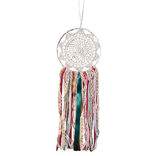 CAOLATOR Bunt Traumfänger Original Böhmen Regenbogenfarbe Mischband Home Dekoration Anhänger Hochzeitsdekoration (Anhänger Federn Band)