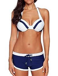 aecf3c4ba76 Happy Sailed Womens Push Up Bikini with Shorts S-XXXL
