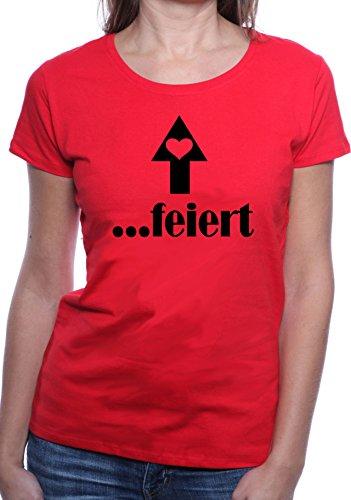 Mister Merchandise Ladies Damen Frauen T-Shirt ….feiert - Mädels, JGA Tee Mädchen bedruckt Rot
