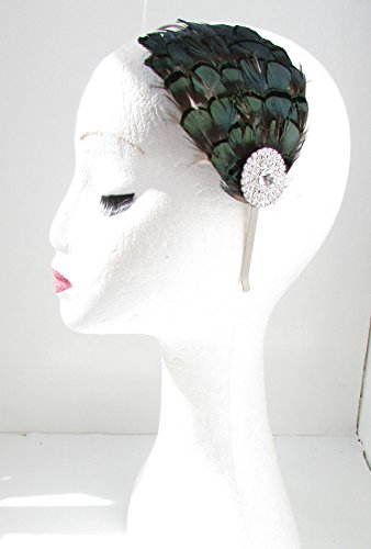 Vert émeraude foncé Vert & Argent Serre-tête bibi avec plume bandeau VTG ANNÉES 1940 Y57 * * * * * * * * exclusivement vendu par – Beauté * * * * * * * *