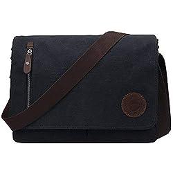 Ventcy Canvas Umhängetasche Herren Schultertasche Männer Aktentasche Messenger Bag Kuriertasche Laptoptasche Arbeitstaschen für Studenten Büro (13 Schwarz)
