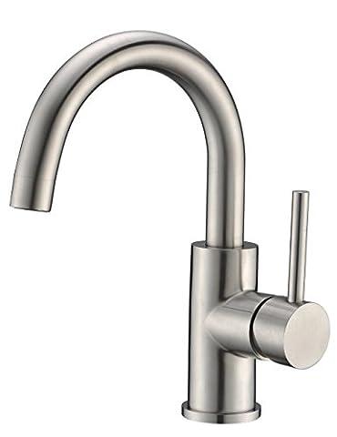 CREA Modernes Badezimmer-Waschbecken-Wanne-Hahn, gebürstetes Nickel-heißes und kaltes Garderobe-Küche-Toiletten-Wannen-Mischer-Hahn-Hahn
