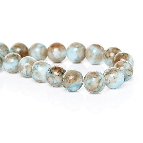 SiAura Material ® - 10mm Glasperlen blau/braun gesprenkelt, ca. 80 Perlen