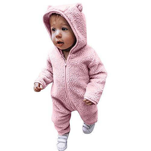 MRULIC Säugling Baby Playsuit Mädchen Jungen Overall Walkanzug Herbst und Winter Langarm Flauschig mit Kapuze Pullover Jumpsuit Outfits Outwear Babysachen(Rosa,85-90CM)