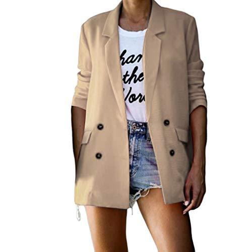 DOFENG Damen Mode Elegant Stil Frauen Mantel Winter Warme Volltonfarbe Taste Langarm Party Outing Dünne Oberbekleidung Tops Warme Mantel Jacke (Beige, XXXL)
