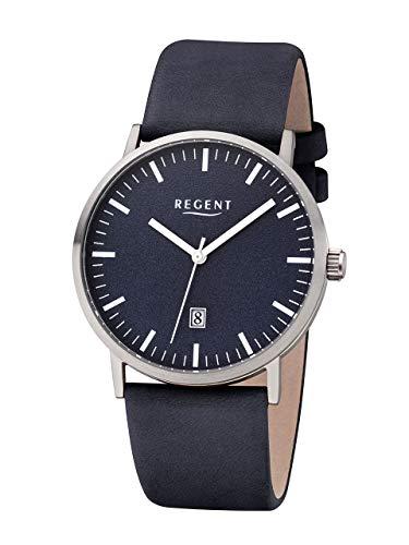 Regent Titan–Reloj de Pulsera analógico de Cuarzo Banda de Piel Azul F de 1233