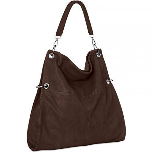 CASPAR TS561 Bolso de Mano para Mujer Bolso de Bandolera en Varios Colores, Color:marrón chocolate