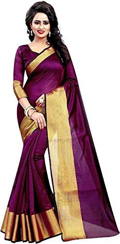 Derisory Women's Cotton Silk Saree With Blouse Piece (Wine)