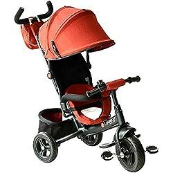 Homcom Tricycle Enfants évolutif Canne et Pare-Soleil Pliable Amovible Sacoche et Panier 96 x 54l x 101 cm Acier Rouge Brique Noir