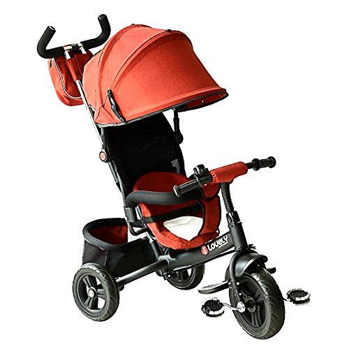 Homcom Tricycle Enfants évolutif Canne et Pare-Soleil Pliable Amovible Sacoche et Panier 96 x 54l x 101 cm Acier Rouge Brique No