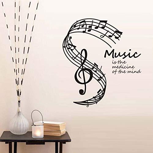Xlei adesivi murali la musica È la medicina della mente adesivi murali note musicali stave home decor soggiorno musica note stickers murali hot58x65cm