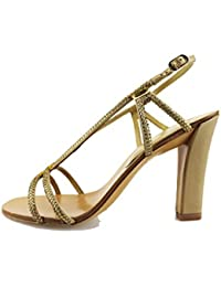 LOLA CRUZ Sandalias mujer Oro Textil cuero strass AG309