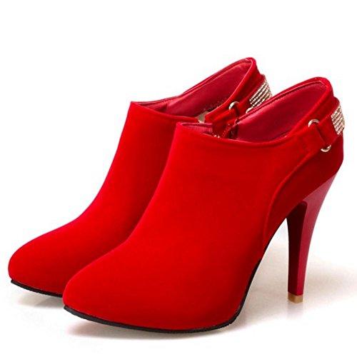 COOLCEPT Femmes Mode Bottines Cheville Aiguille Avec Fermeture Eclair red