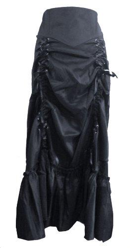 Noir (Black 3 Ways Frida) Gothique/Steampunk Longue Jupe Ruché Taille 54=56