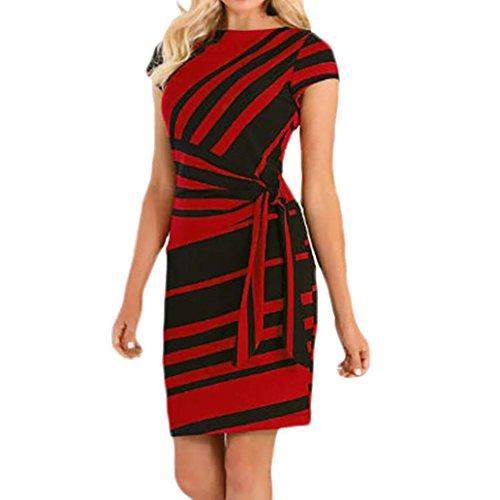 Damen Knielang Kleider,Kanpola Frauen Elegant Partei-Kleid Streifen Einfarbig Kleid Minikleid...