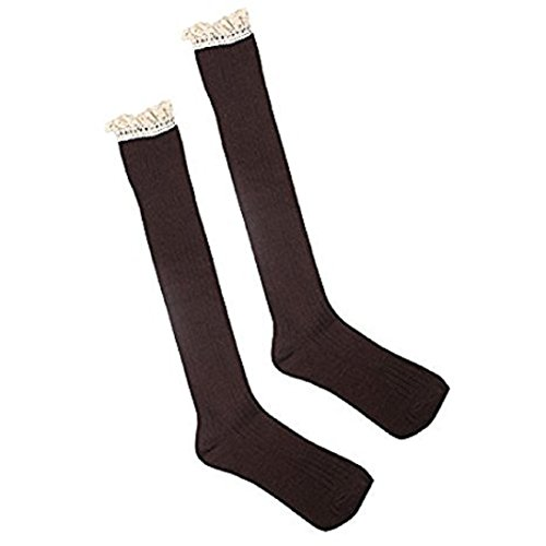 pu ran Mädchen Kniestrumpf, Fashion, braun, X4TQ144743LIVUG5434 (Knee Pu High Boots Black)