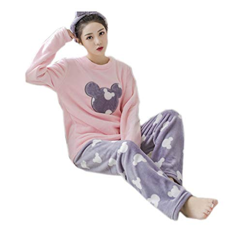 WSLCN Femme Ensemble de Pyjama Animal Ours Mignon Hiver Douce Vêtement de Nuit Flanelle Ours...