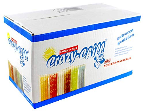 200x Crazy Chill Stangeneis Wassereis Eis Drink Mix z.B. Waldmeister,Cola,Kirsch,Zitrone,Orange,Blaubeere a 40ml (Chemische-mix-tanks)