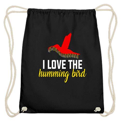 Hochwertige Baumwoll Gymsac - Ich Liebe Den Kolibri - I Love The Humming Bird - Schlichtes Und Witziges Design -