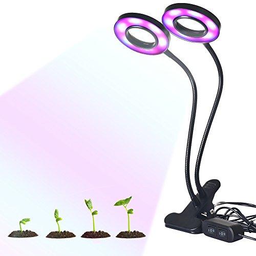 Molie Lampe Horticole à Double Tête Lampe de Croissance Floraison 24W avec Cou Réglable 360°