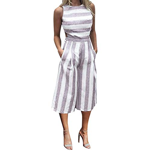 (SIOPEW Frauen Streifen ÄRmellos Playsuit Clubwear Wide Leg Beach Long Jumpsuit)