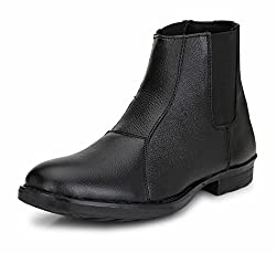 Mactree Men Black Genuine Leather Chelsea Boots-7035-7
