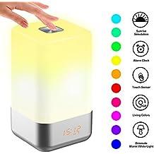 PUNICOK Wake Up Light Lichtwecker LED Wecker mit Sonnenaufgangfunktion 5 Naturklänge 256 RGB Dimmable Stimmungslicht Touch-Tasten Dimmbare Anzeige