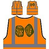 Gioco Di Casinò Rosso Dadi Personalizzato Hi Visibilità Giacca Gilet Arancione di sicurezza p126vo