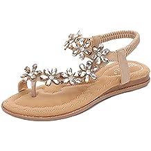 Aqua Sandali da Donna Bohemia Comfort Pietre Strass Clipping Toe Stile  Etnico Fondo Piatto 9e90223a6b8