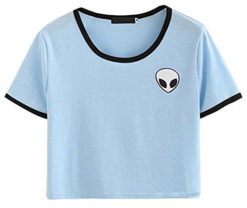 Lannorn Damen Sommer Short Sleeve Runden Hals Aliens Shirt Tee, Hemd Niedlich Ausgesetzt Nabel lose Print pullover Bluse Lassige Crop Tops. (Cowboy-mini-taste)