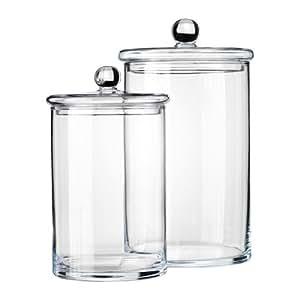 Ikea ryssby 2014 bocal avec couvercle lot de deux verre clair cuisine maison - Pot en verre ikea ...