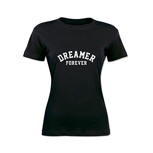 T-Shirt Donna Bicolore Personalizzata Maglietta Femminile Originale Dreamer Forever Nero