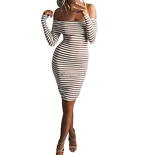 SamMoSon Maxi Dresses for Women Night Wear,Women's Ethnic Unstitched Fabric,Womens Long Sleeve Bodycon Dress Ladies Off Shoulder Stripe Jumper Dress,Brown,S