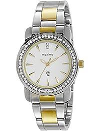 Maxima Analog White Dial Women's Watch-43011CMLT