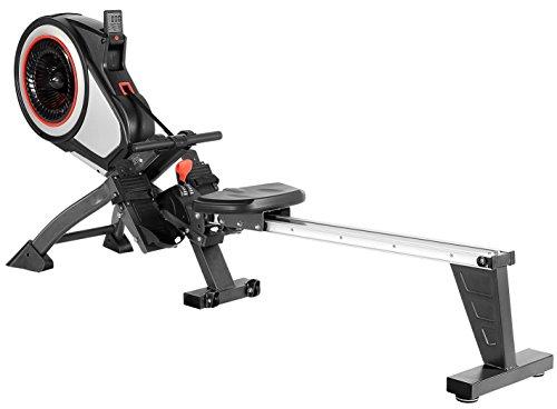 SportPlus Rudergerät, mit Turbinenbremssystem für realistisches Rudergefühl, 8 Luftwiderstandsstufen, Trainingscomputer, klappbare Rudermaschine für Zuhause, Nutzergewicht 150kg