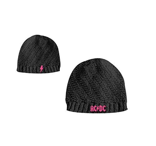 Girls Dc Hoodie (AC/DC Mütze Beanie Cap Classic Logo Girls Ribbed offiziell Nue Schwarz)