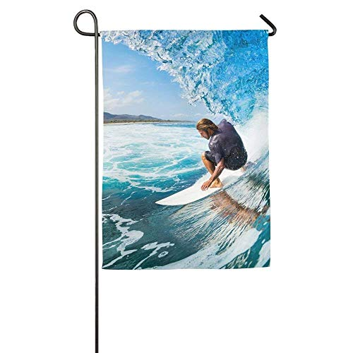 beautiful& Surfer On Blue Ocean Wave Garden Flag Indoor & Outdoor Decorative Flags for Parade Sports Game Family Party Wall Banner 12.5x18 inches