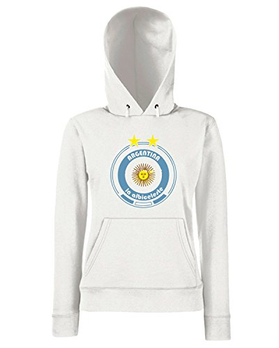T-Shirtshock - Sweats a capuche Femme WC0670 World Cup Football - Team Argentina Blanc