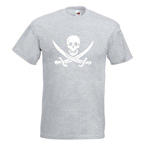 KIWISTAR - Piraten Schädel T-Shirt in 15 verschiedenen Farben - Herren Funshirt bedruckt Design Sprüche Spruch Motive Oberteil Baumwolle Print Größe S M L XL XXL Graumeliert
