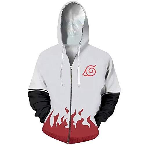 RJHWY 3D Hoodie Sweatshirt Unisex Pullover Kapuzenjacke Kleidung Mantel Reißverschluss Naruto Namikaze Minato XL