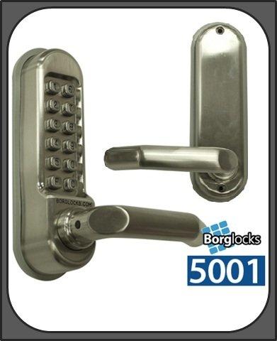 Borg 5001DDA Digital Push Button Lock?Medium Duty Einsteckriegel?Satin Silber -